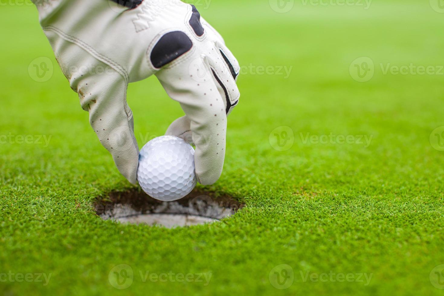 Männerhand, die Golfball in Loch auf grünem Feld setzt foto