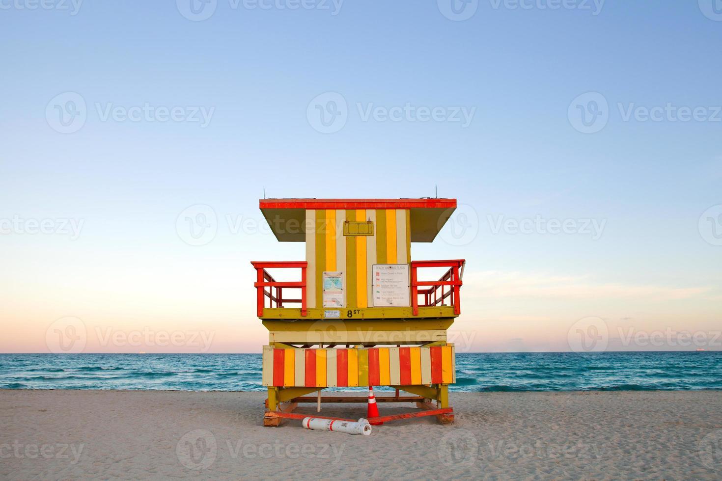 Miami Beach Florida Rettungsschwimmer Haus bei Sonnenuntergang foto