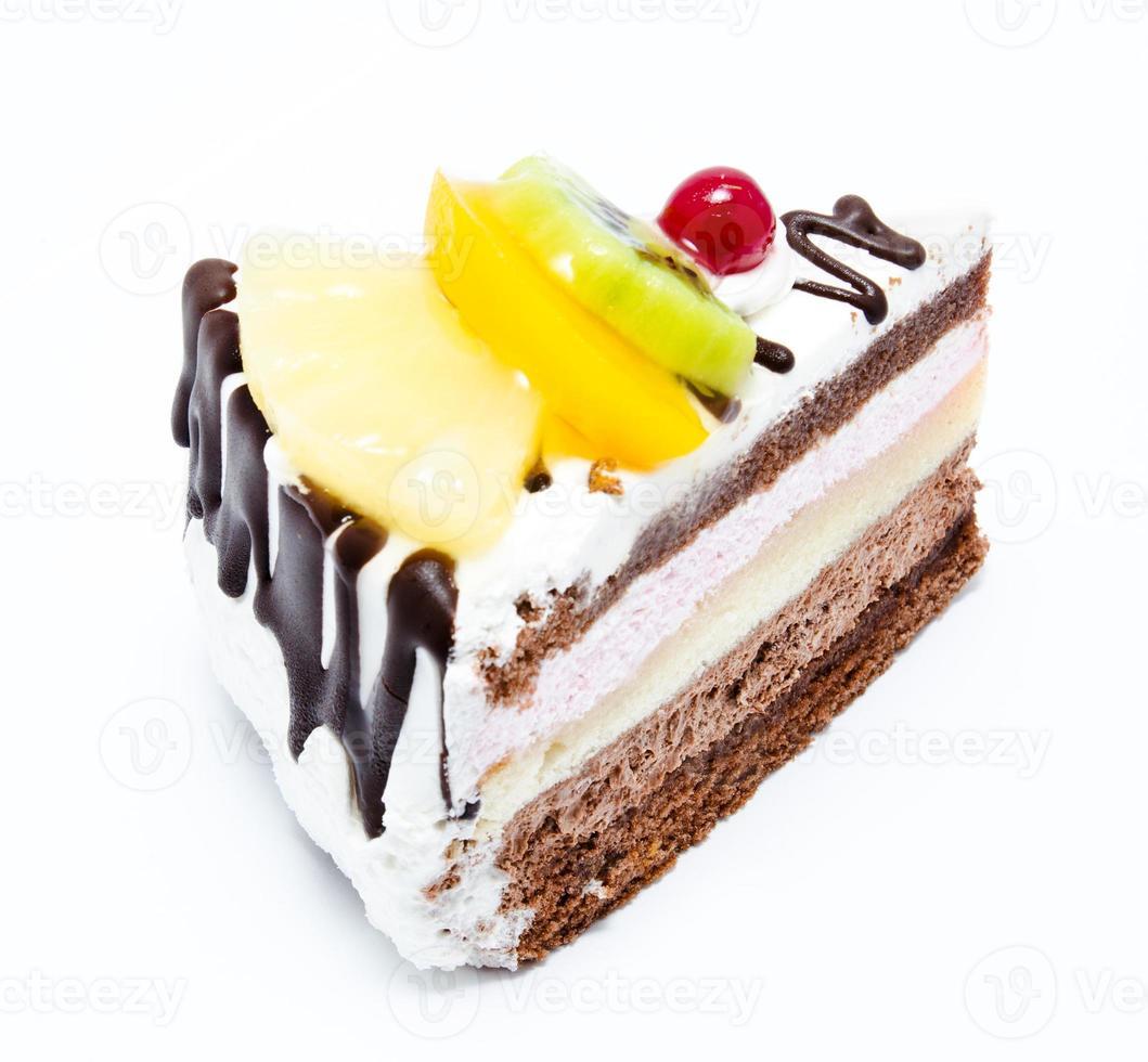 Stück Schokoladenkuchen mit Zuckerguss foto