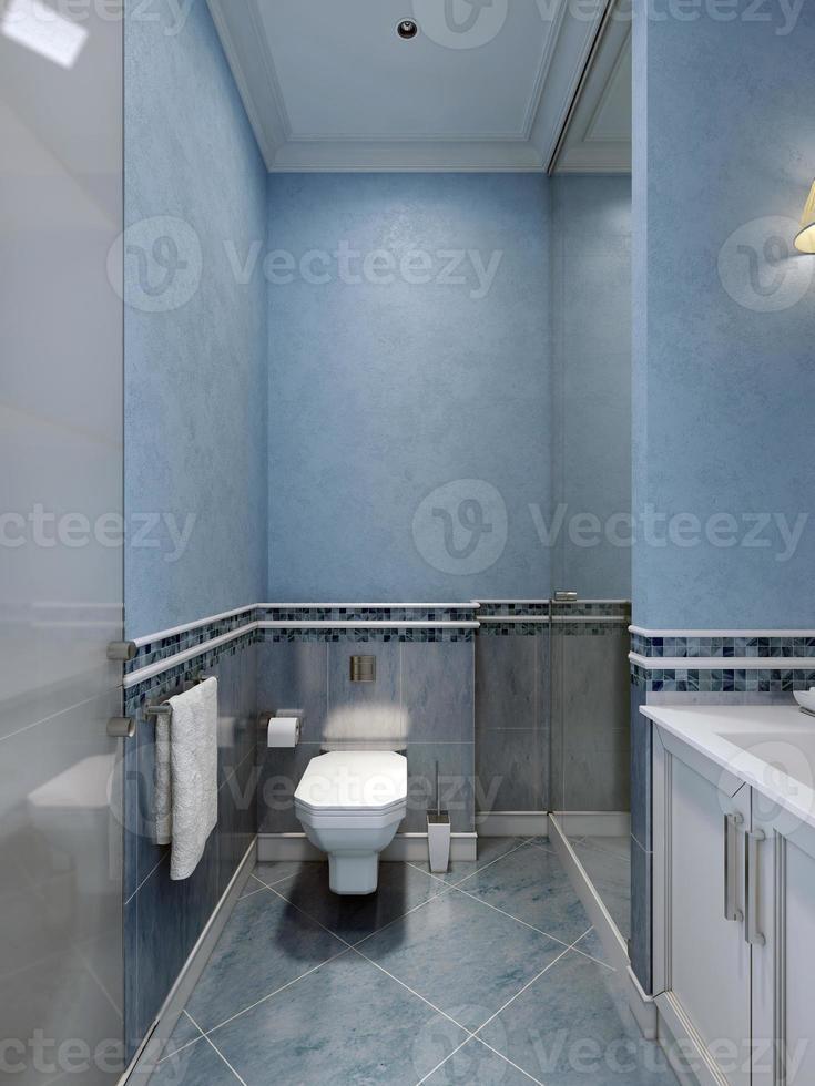 Innenraum des blauen Badezimmers foto