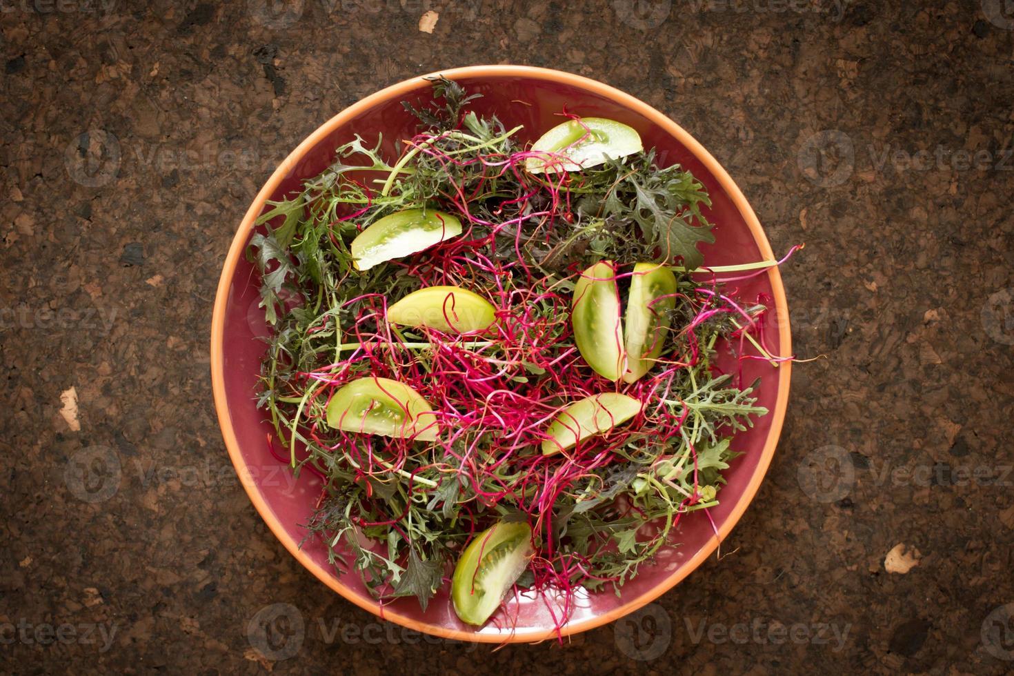 Salatblätter für einen gesunden Körper und Geist foto