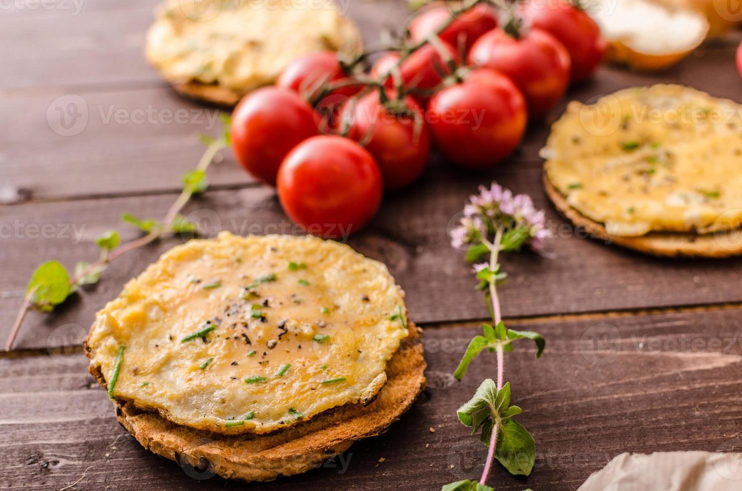 Mini-Omeletts knuspriges Gebäck foto