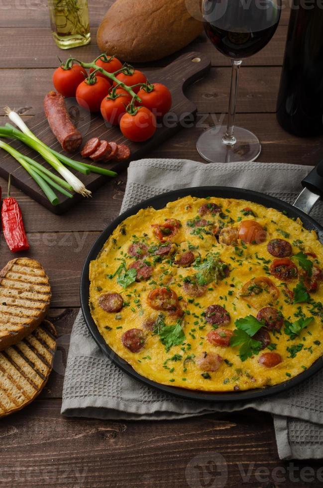 Herrenomelett mit Chorizo foto