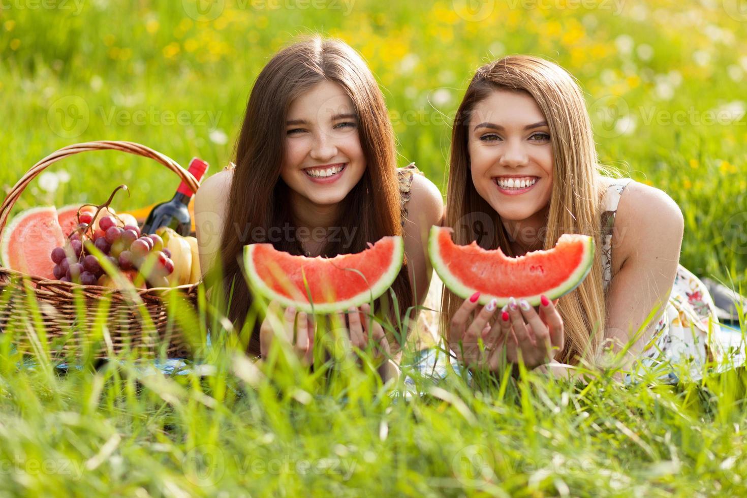 zwei schöne junge Frauen auf einem Picknick foto