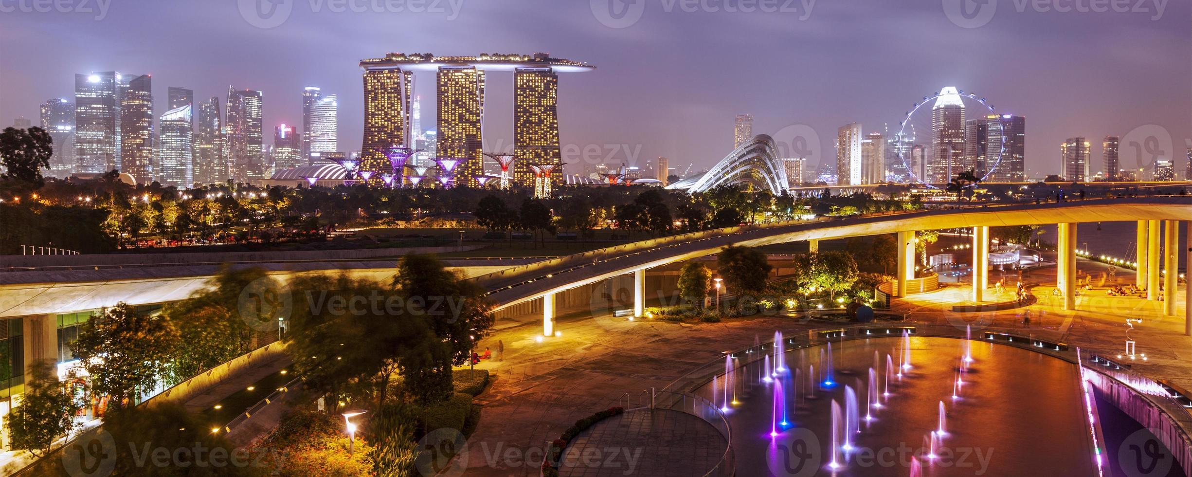 Singapur Skyline in der Nacht foto