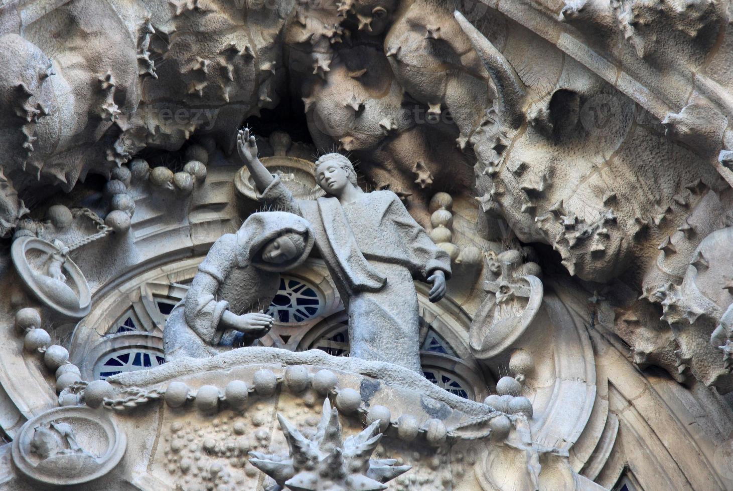Krippenfassade des Sagrada Familia Tempels, Barcelona, Katalonien, Spanien foto