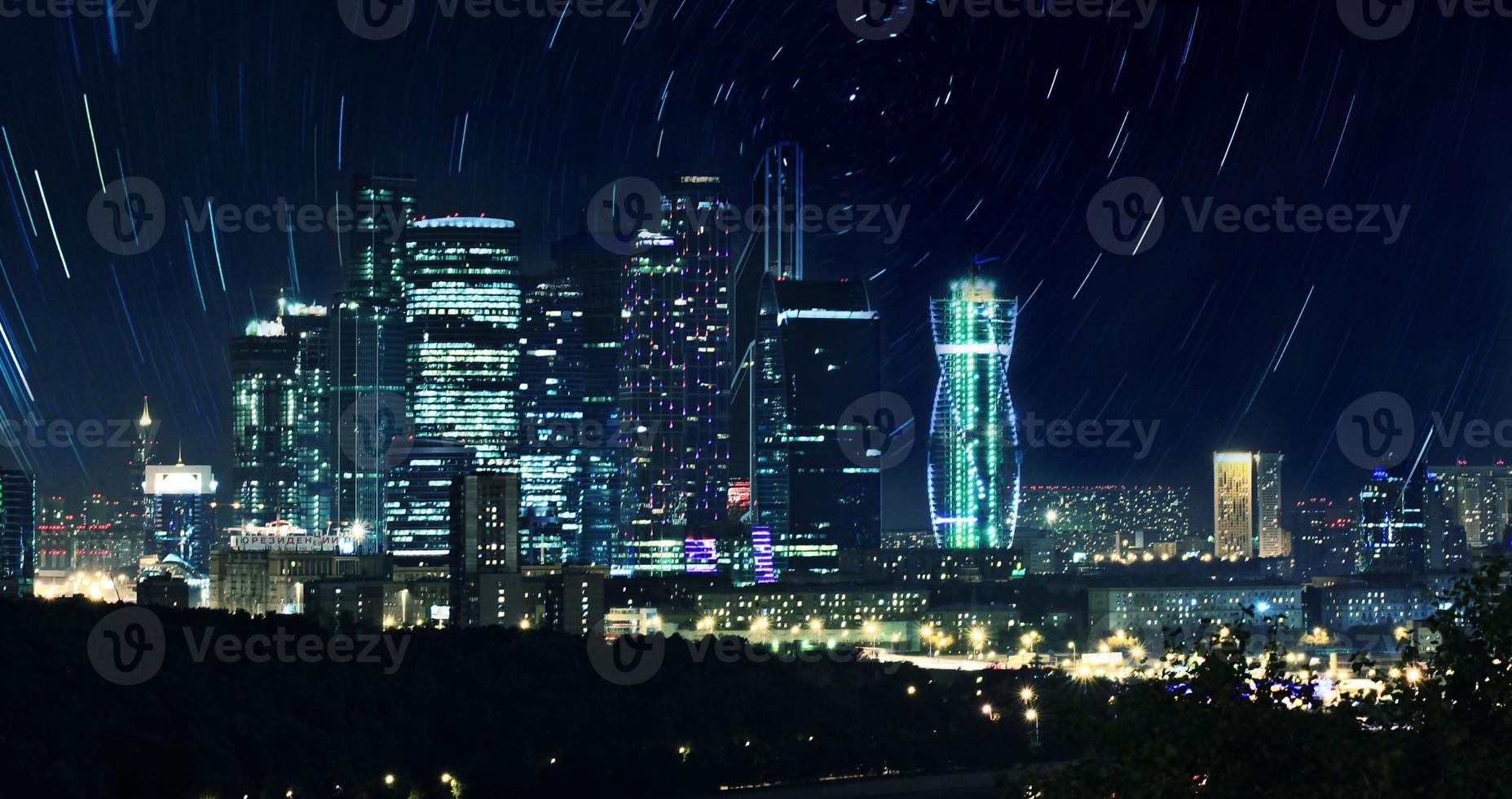 Moskauer Stadtnachtlandschaft foto