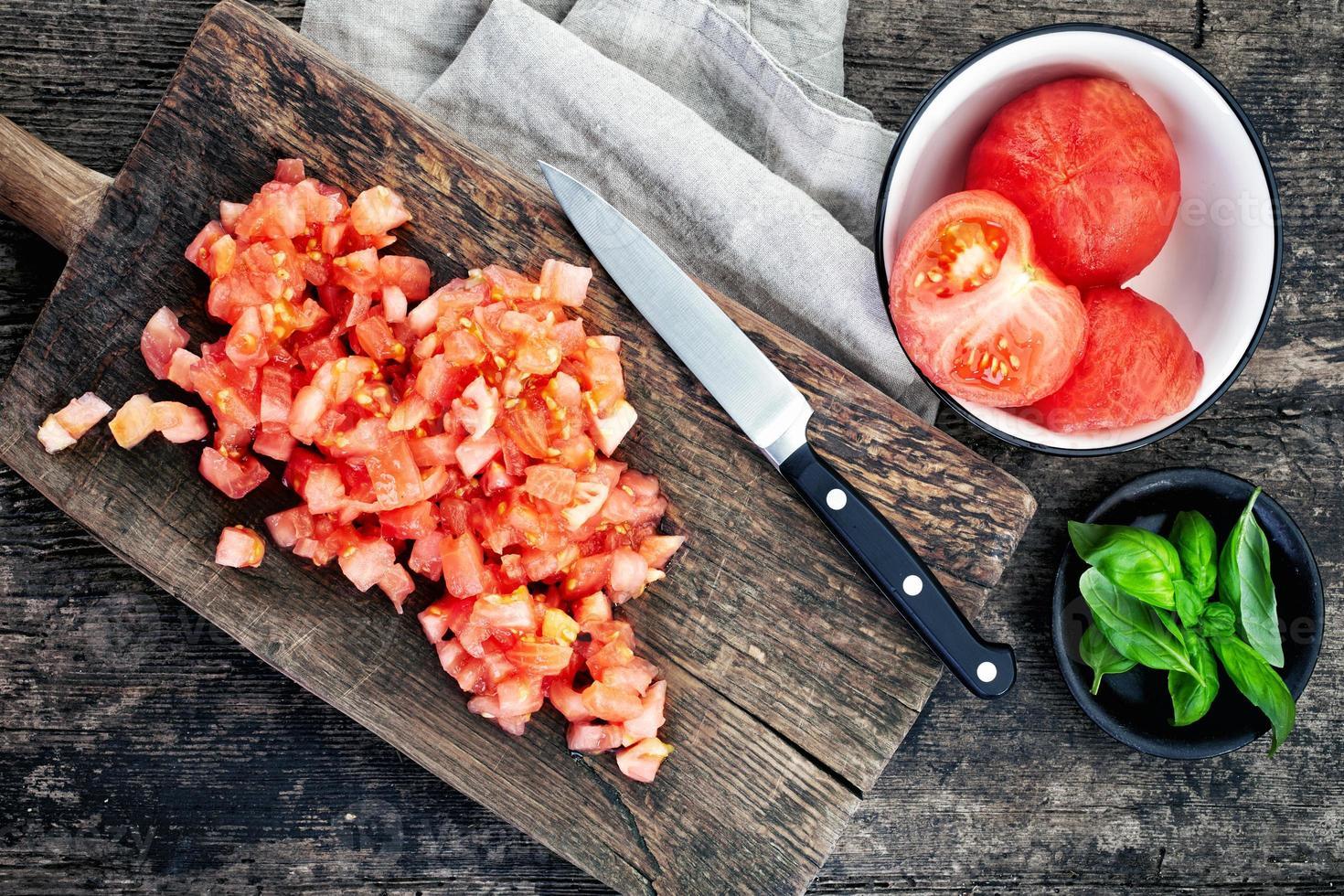 gehackte Tomaten foto