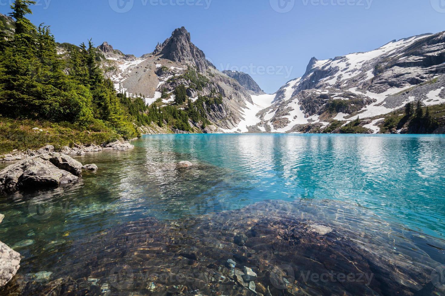 klares azurblaues Wasser des Jade-Sees foto