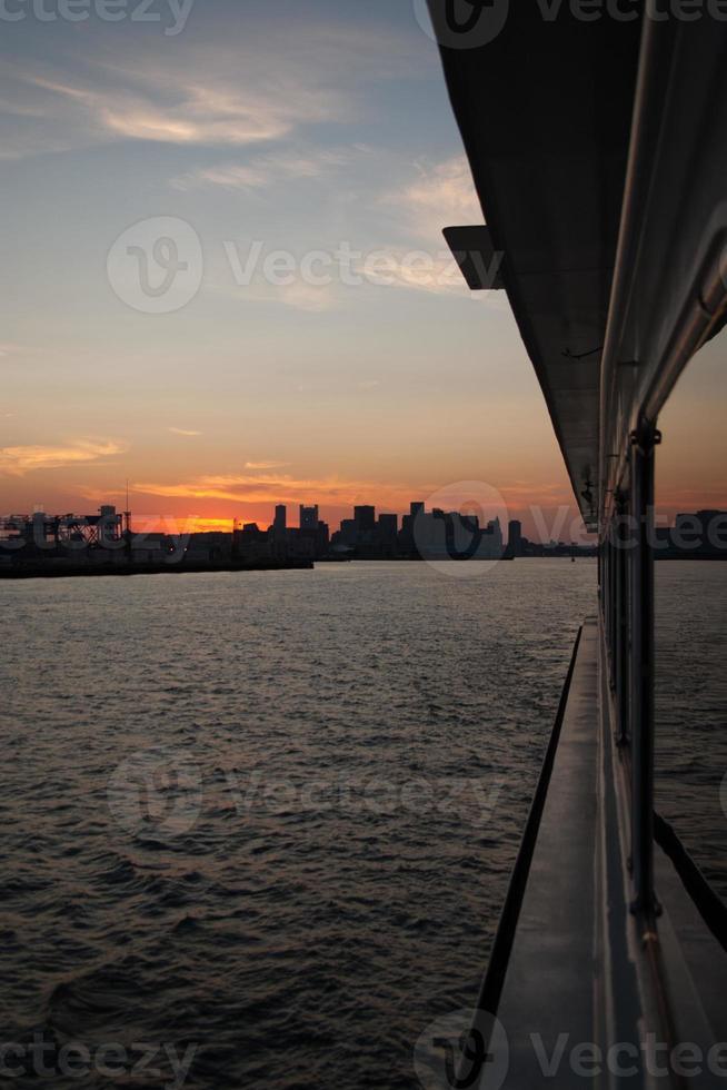 Sonnenuntergang über Boston Hafen foto