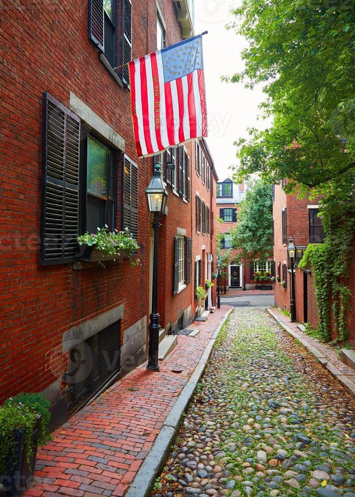 Eichel Straße Leuchtfeuer Hügel Kopfsteinpflaster Boston foto