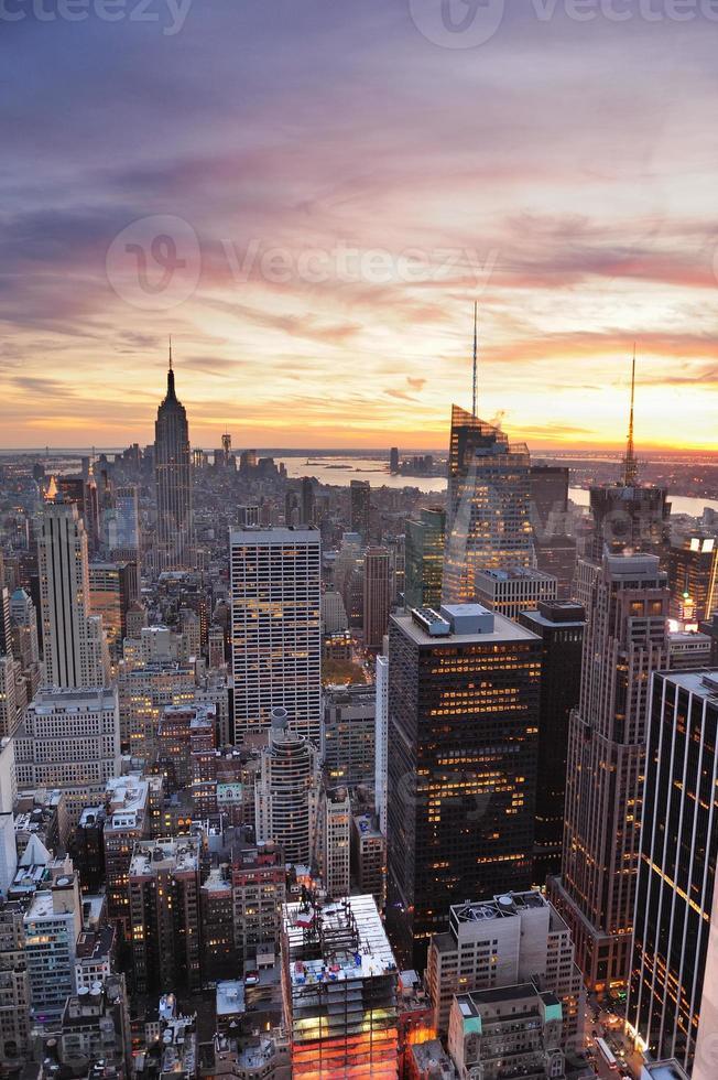 Sonnenuntergang in New York City foto