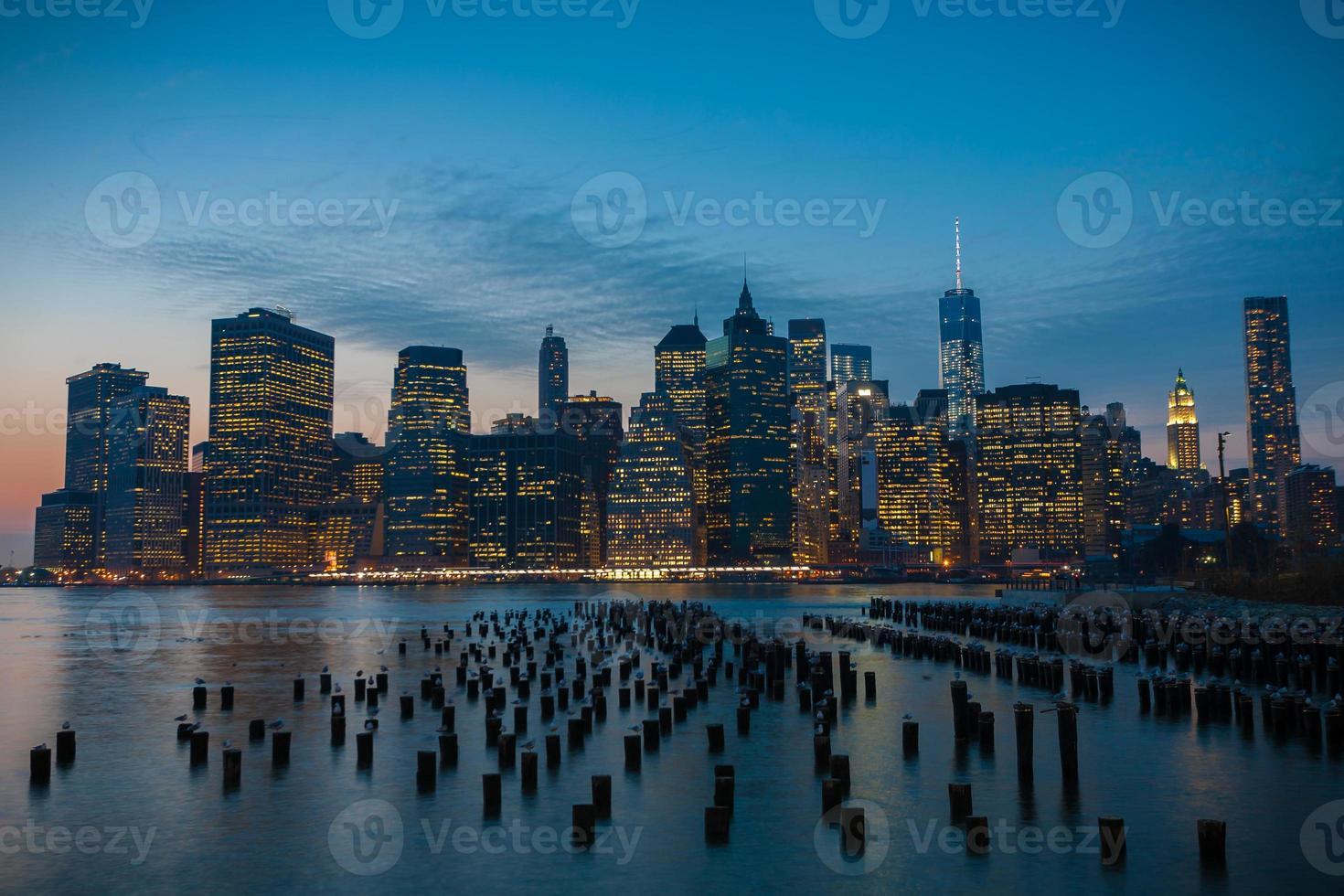 schönes New York in der Dämmerung foto