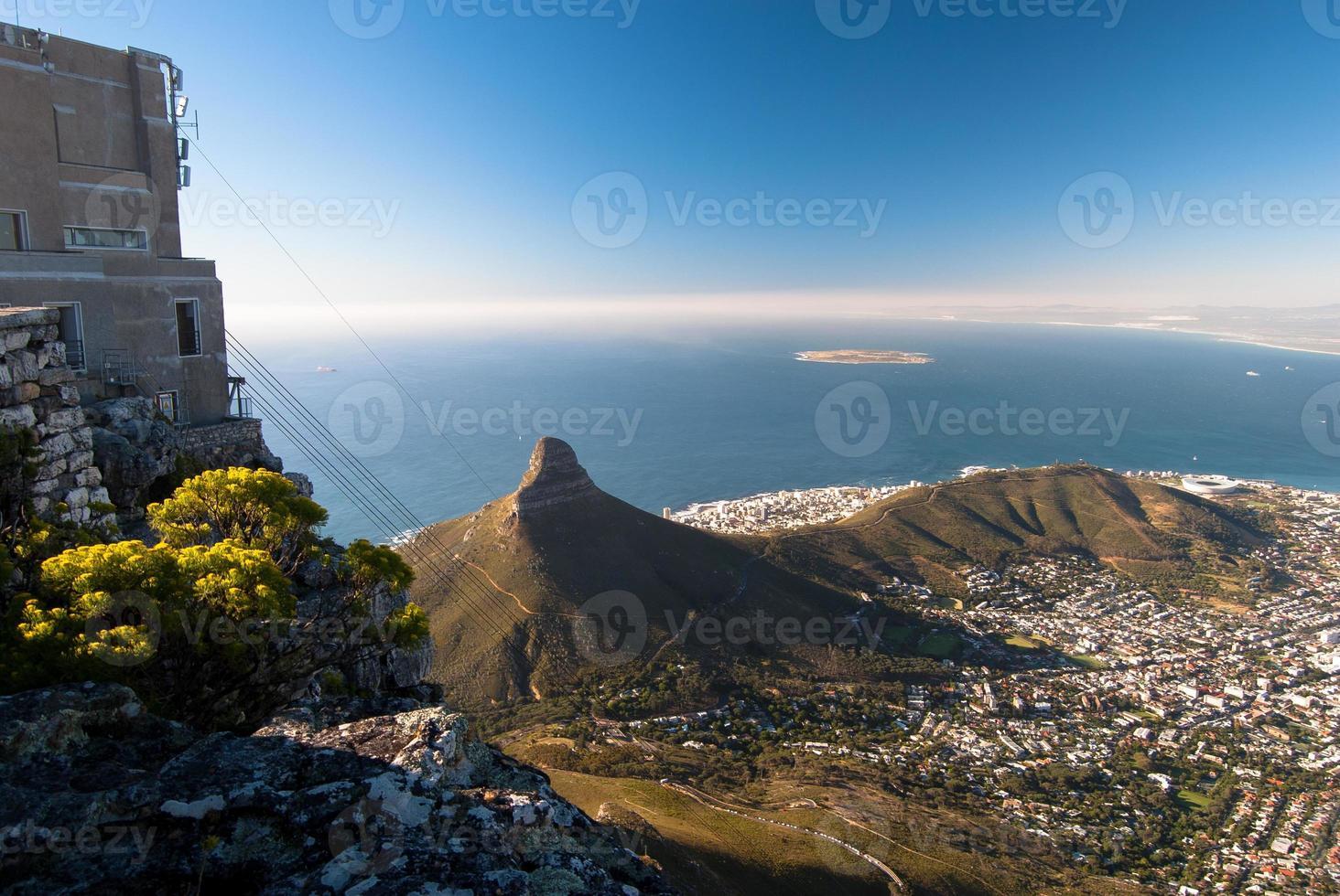 Blick von der Spitze des Tafelbergs, Kapstadt. foto