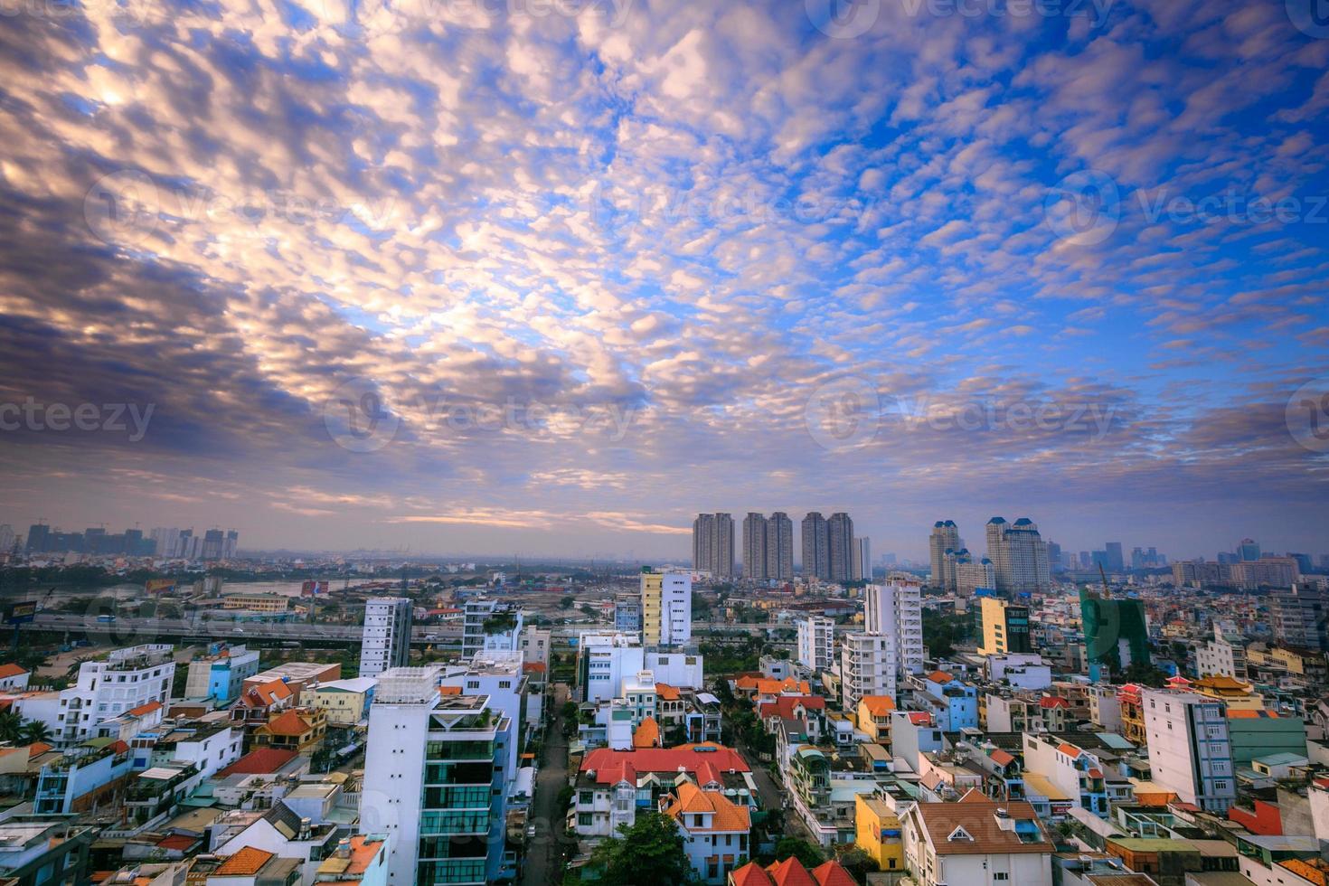 Ho-Chi-Minh-Stadtpanorama, Saigon Vietnam foto