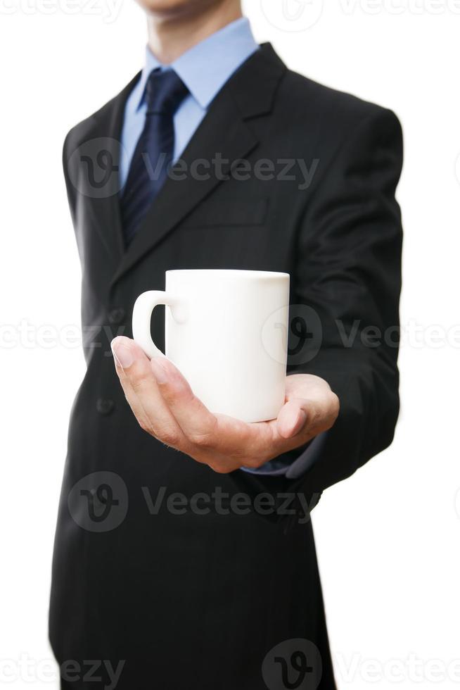 Männer im Anzug mit Tasse foto