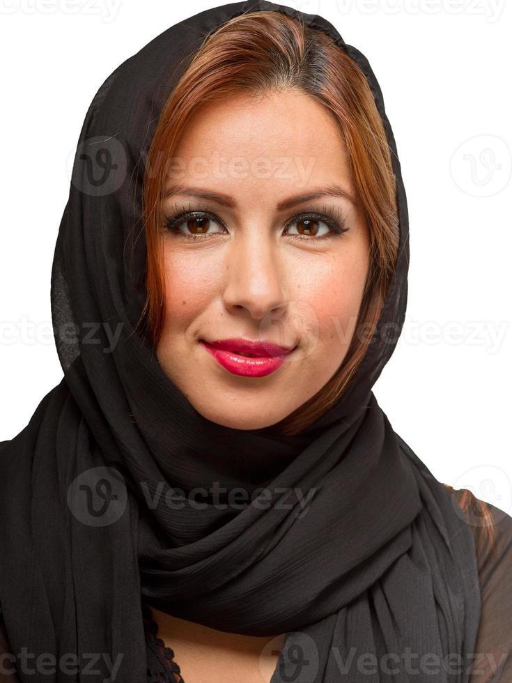 hispanische Frau mit schwarzem Schal foto