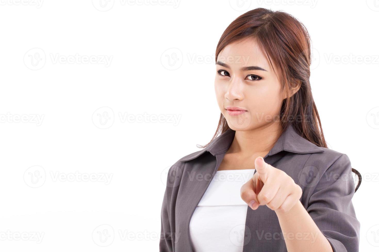 weibliche Führungskraft, Geschäftsfrau, die auf Sie zeigt foto
