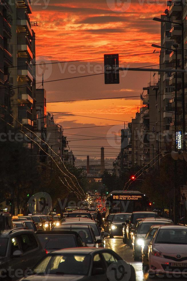 Verkehr in Athen, Griechenland foto