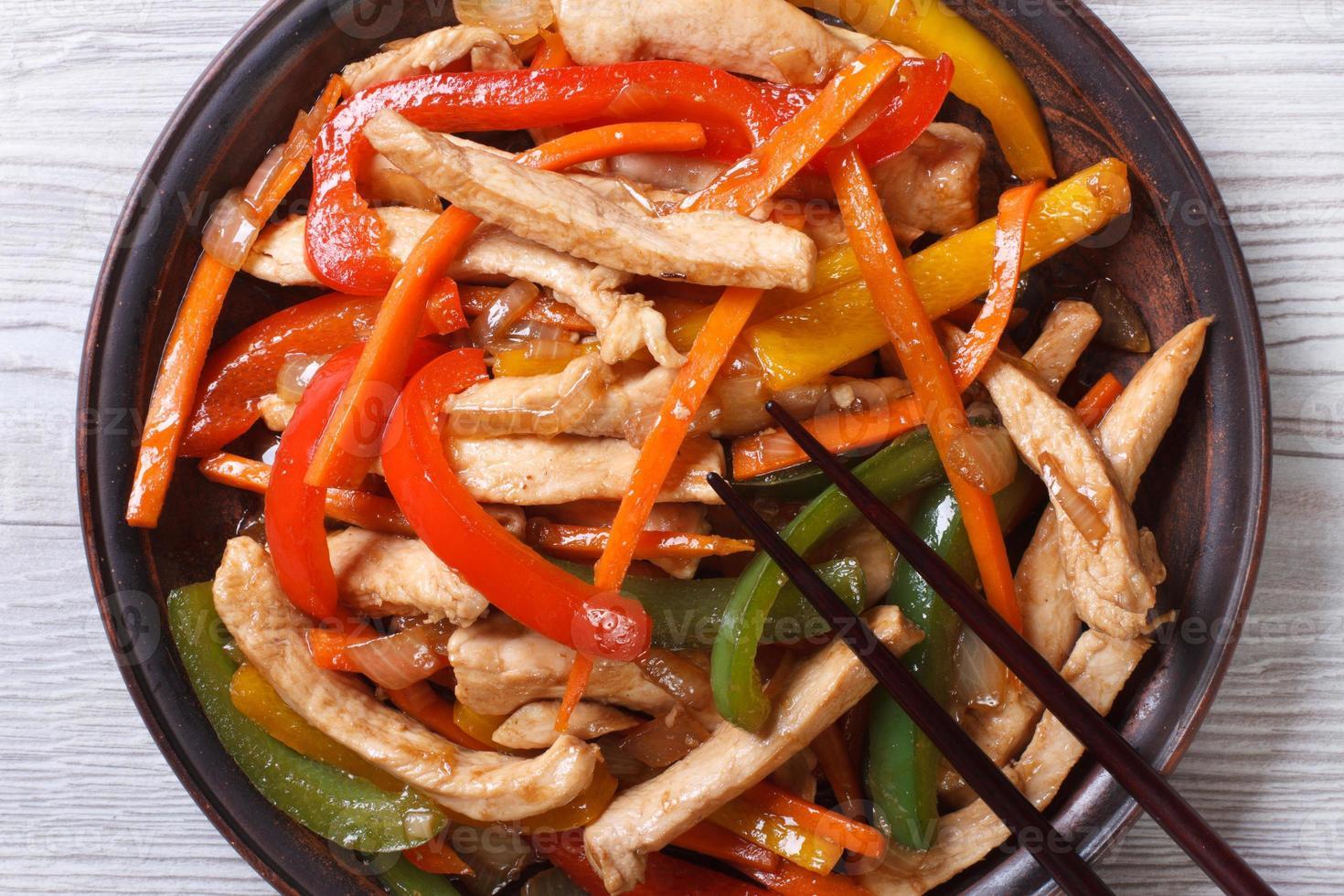 Huhn mit Gemüse Nahaufnahme auf einem Teller. Draufsicht foto