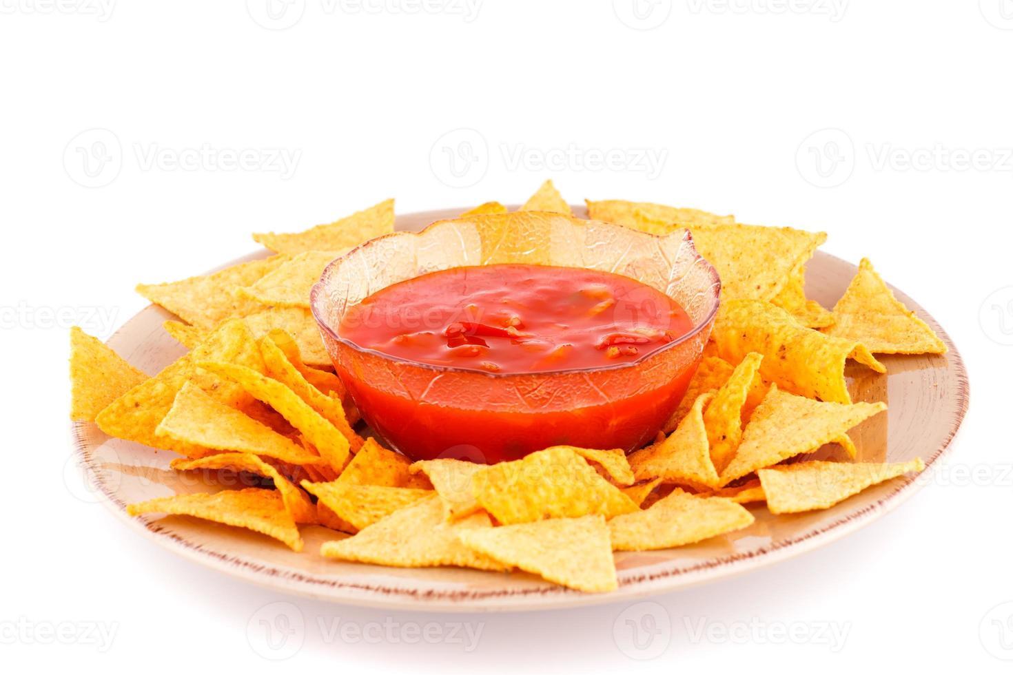 Nachos und rote Sauce foto