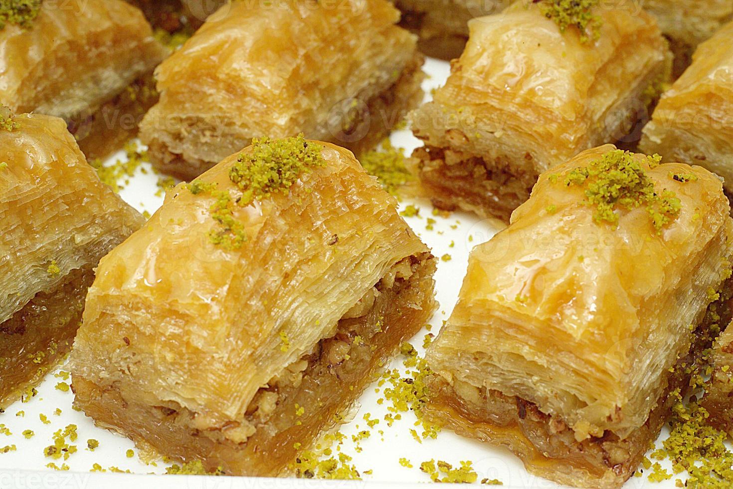 Gastronomie. Dessert, türkisches Baklava foto