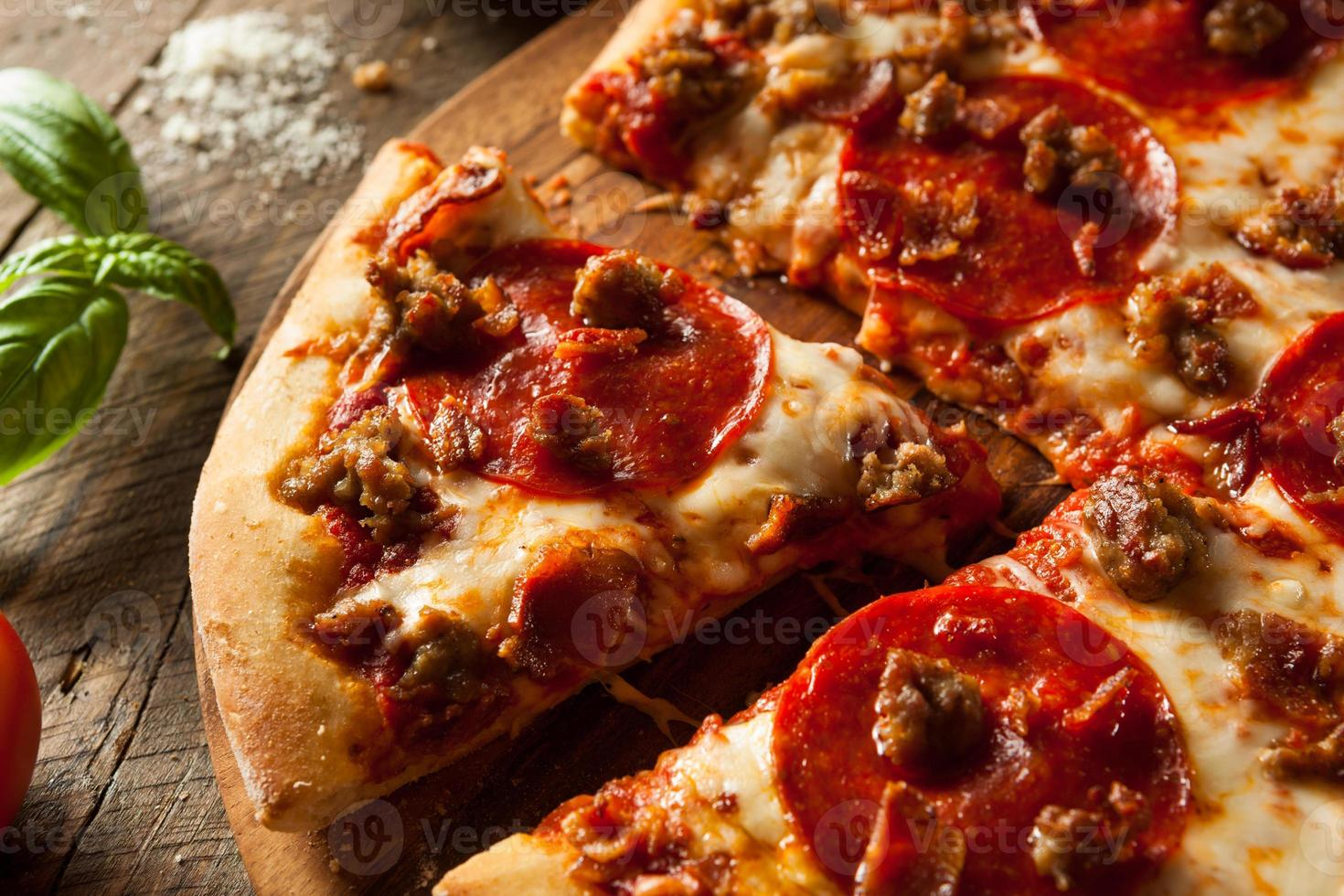 hausgemachtes Fleisch liebt Pizza foto