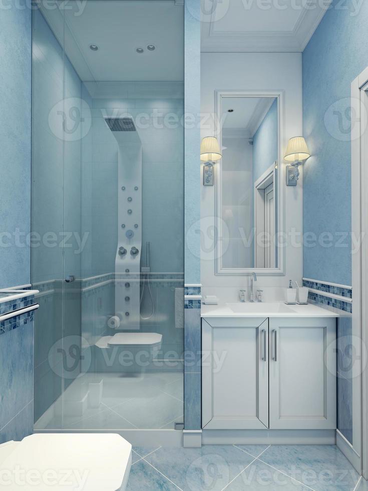 Design des modernen blauen Badezimmers foto