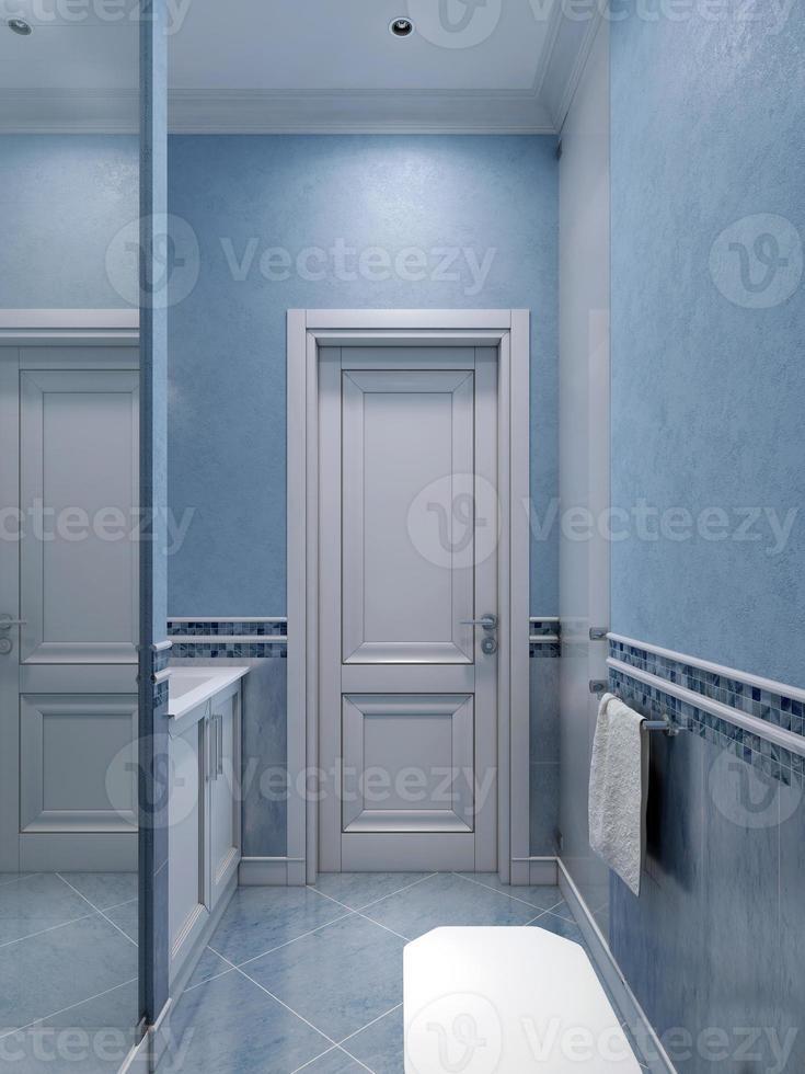 Idee des blauen Badezimmers mit Dusche foto