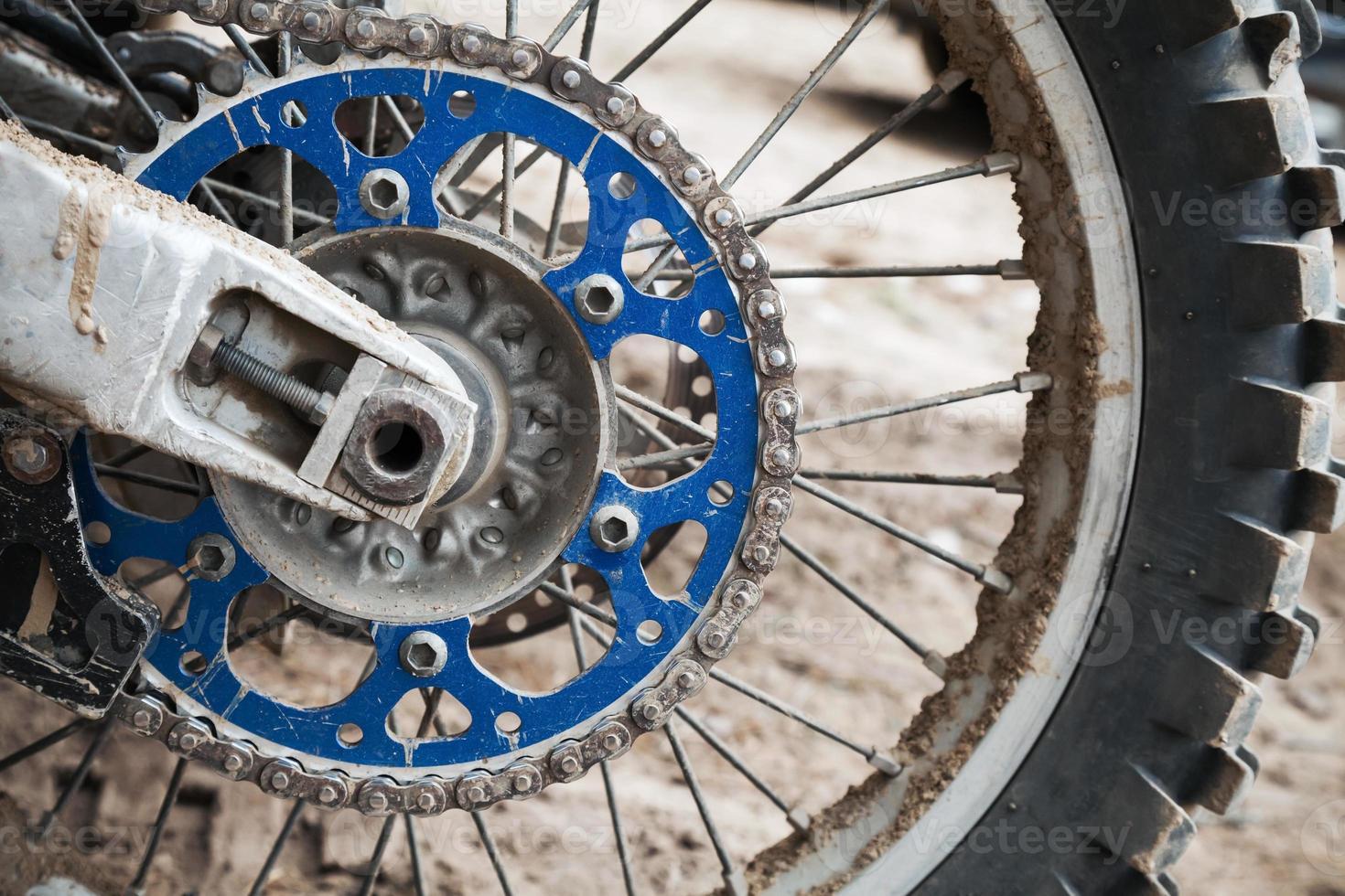 Nahaufnahmefragment des Sport-Motocross-Rades foto