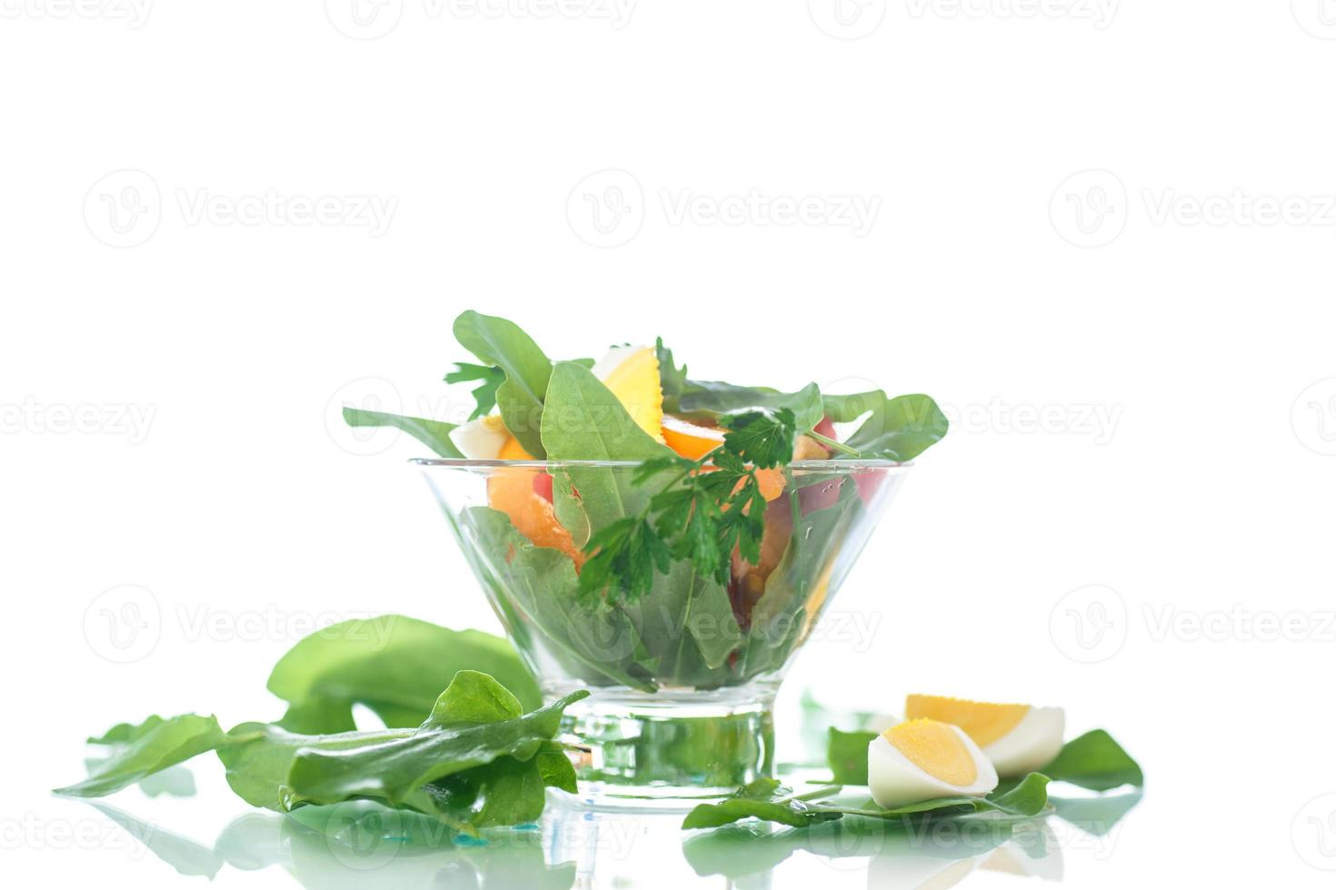 Sauerampfer Salat und Tomaten mit Ei foto