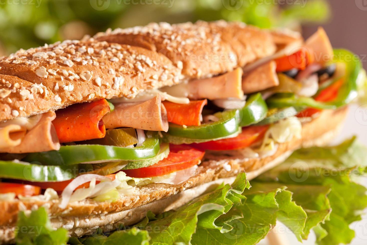 Hühnchen-Puten-Schinken-Sandwich mit Gemüse foto