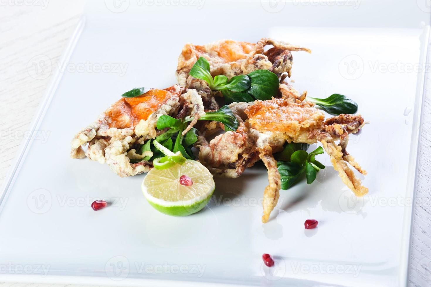 Gebratene Krabben mit Käse foto