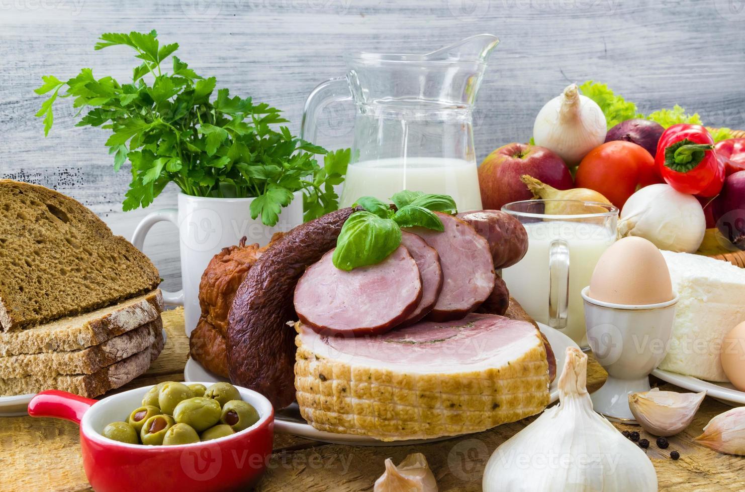 Zusammensetzung Vielfalt Lebensmittelprodukte Fleisch Molkerei foto