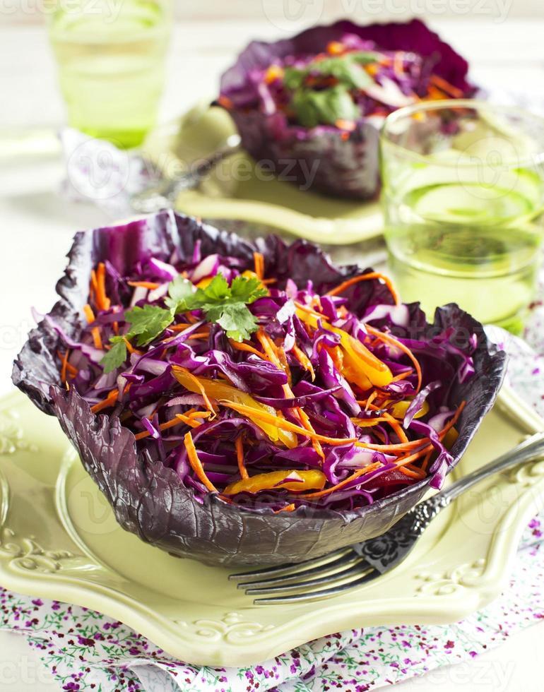 Krautsalat. Salat mit Rotkohl, Karotten, Zwiebeln und Rote Beete foto