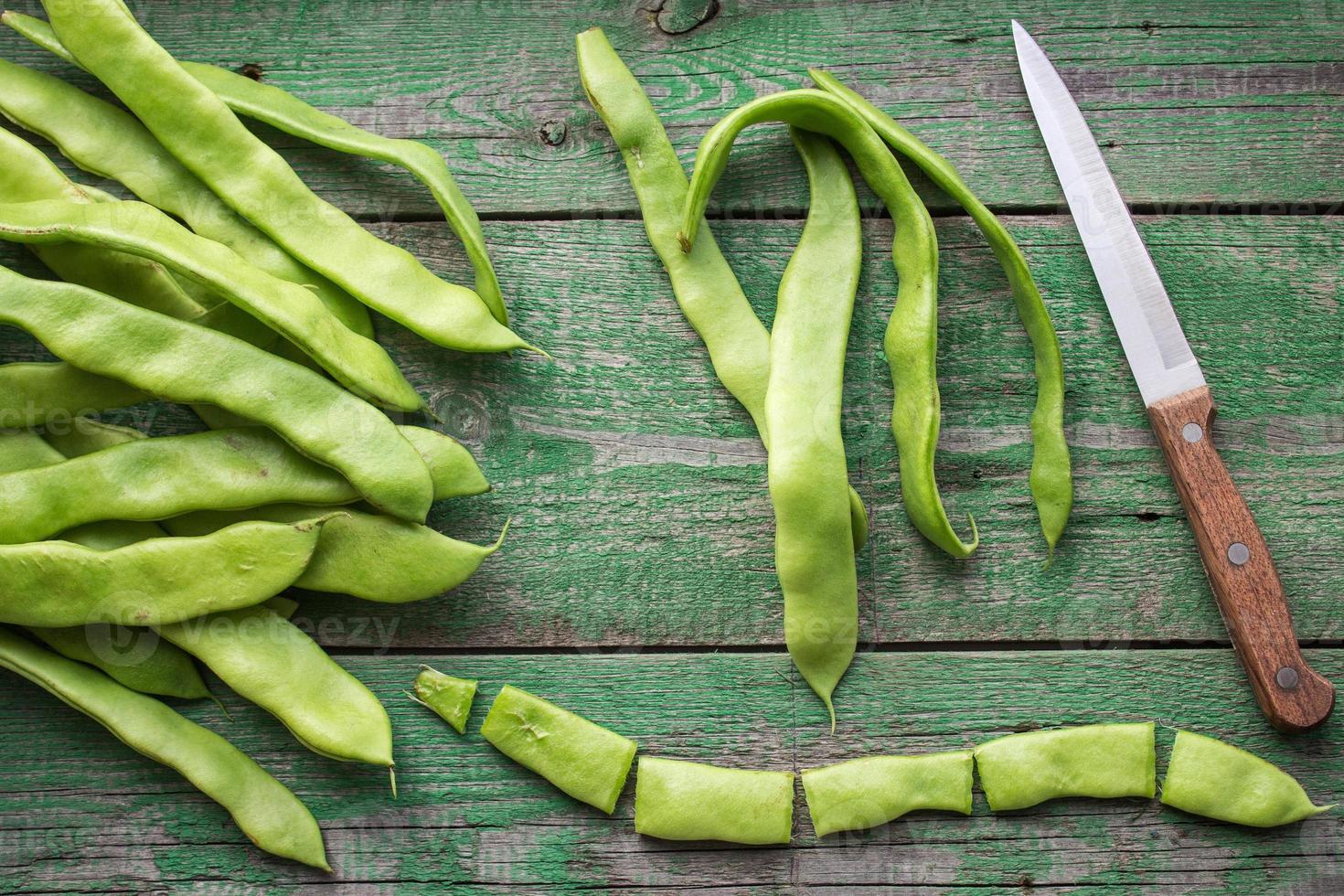 die Schoten der grünen Bohnen foto