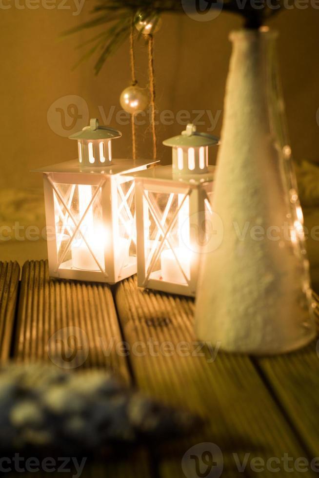 Miniaturlaternen Winterdekoration foto