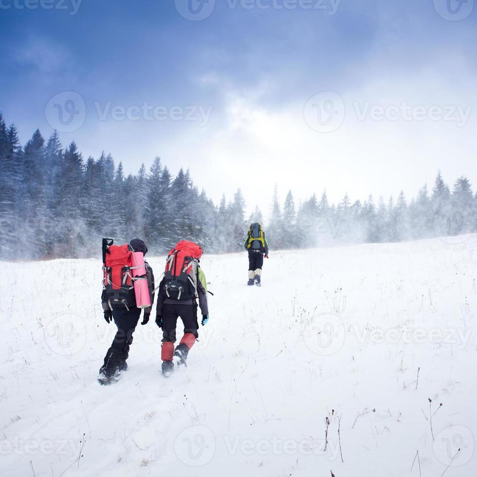Wanderer in den Winterbergen foto