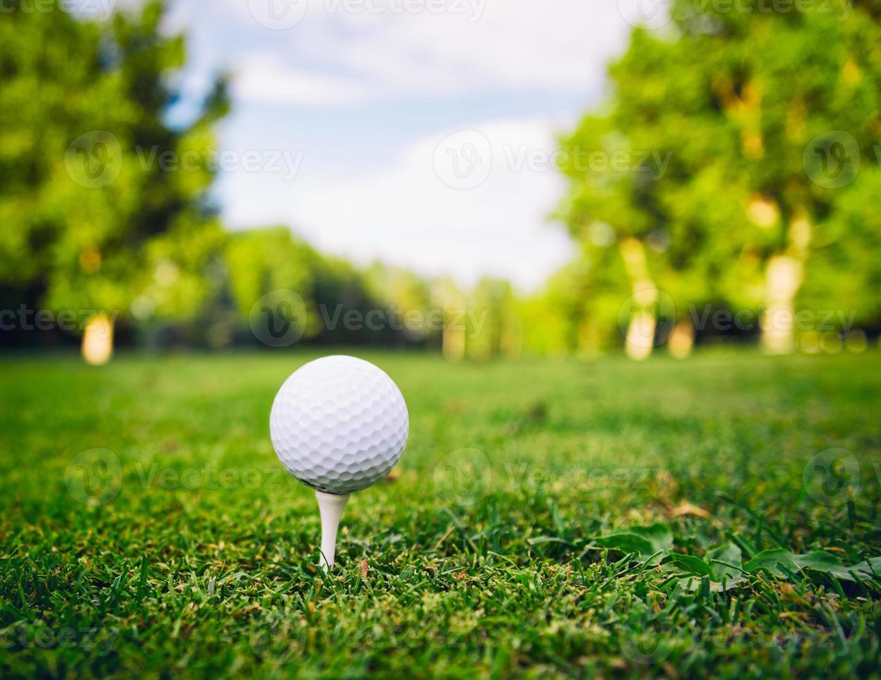 Golfball auf einem Abschlag foto