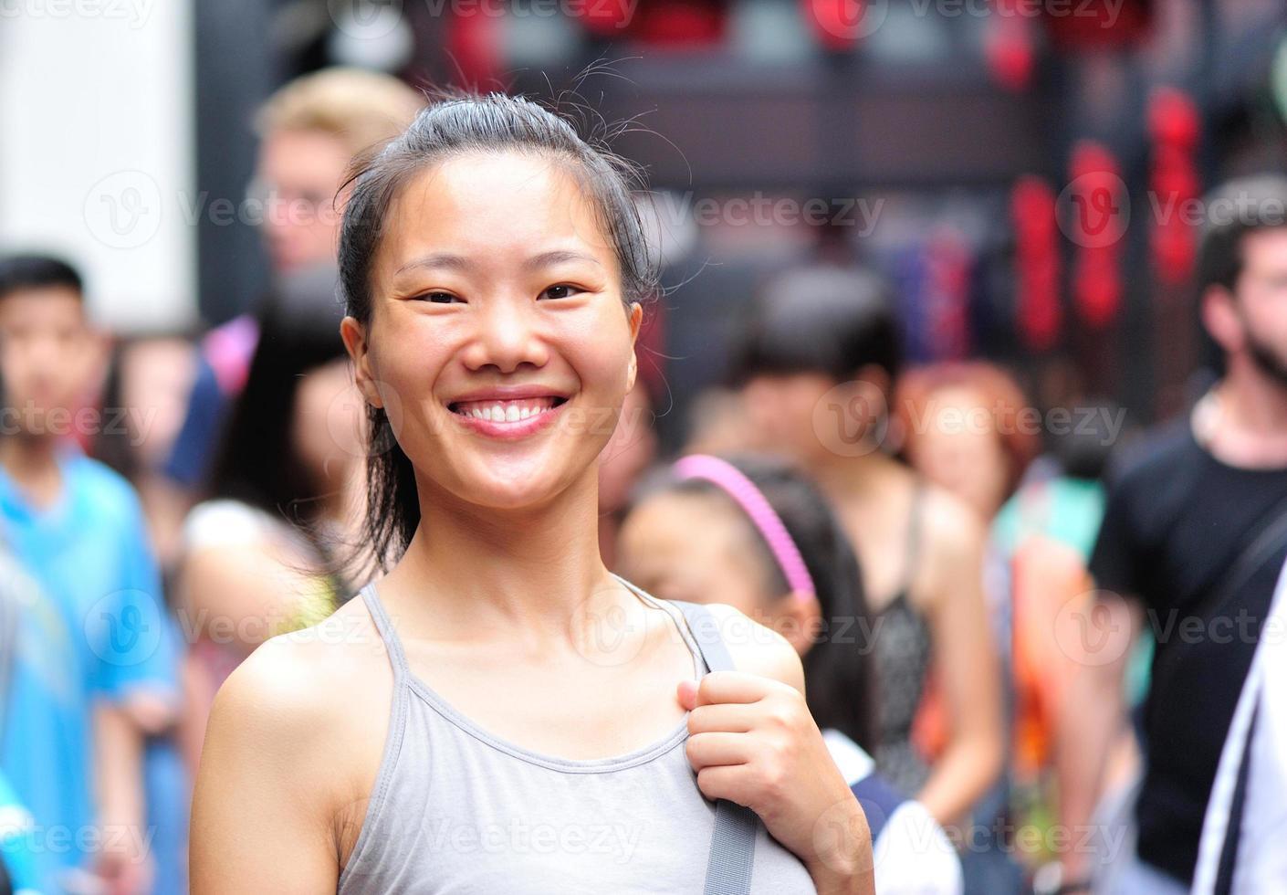 Frau Trouristin in der Jinli Straße, Chengdu, China foto