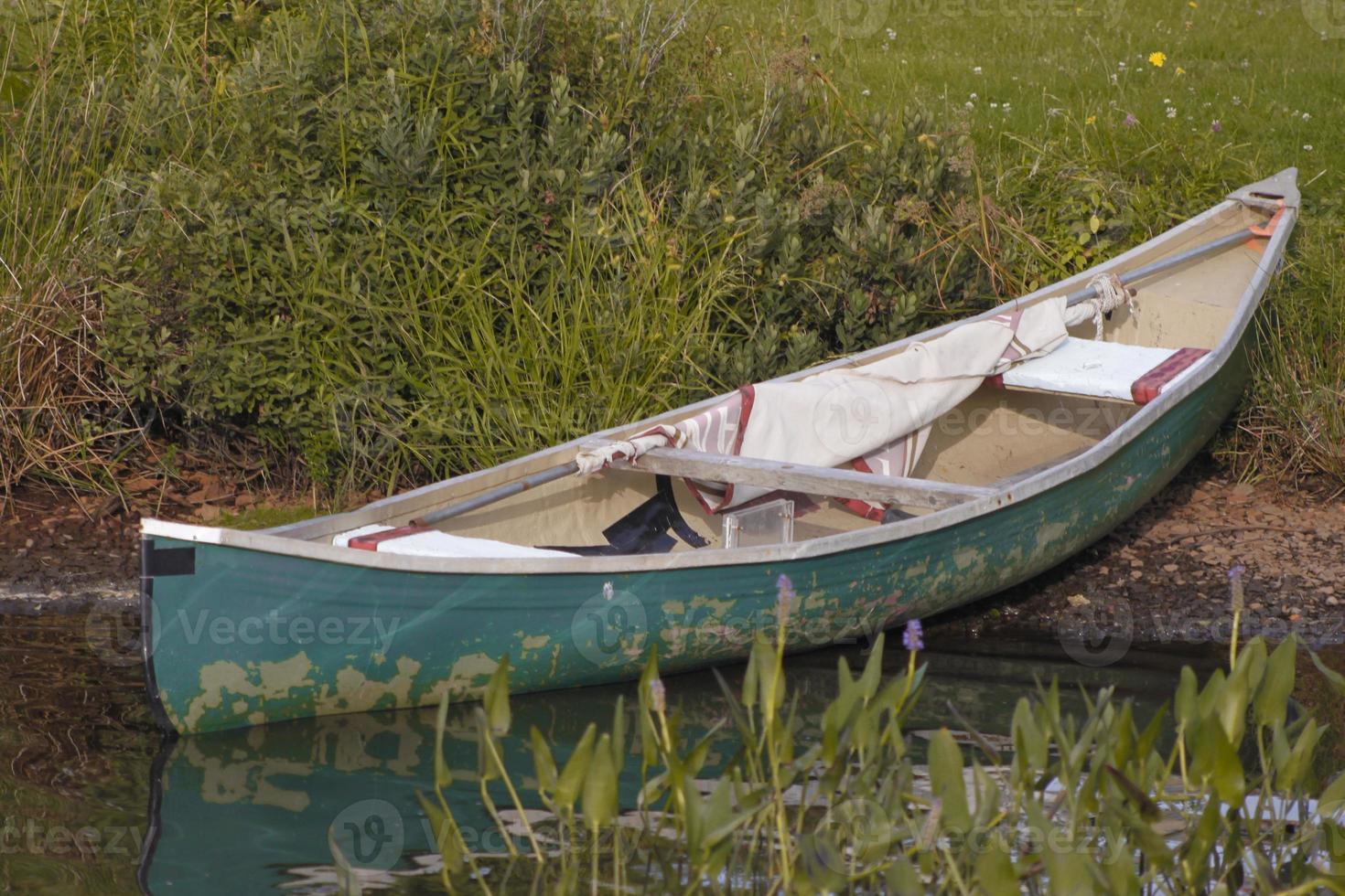 grünes Kanu teilweise im Wasser am grünen Grasufer foto