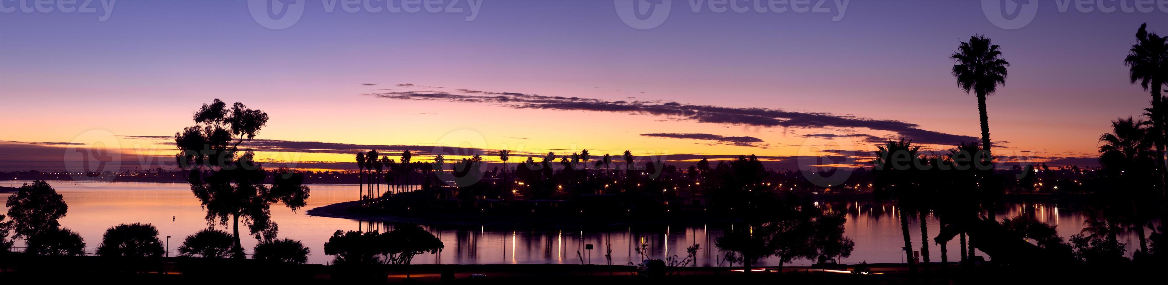 Mission Bay San Diego, Kalifornien USA, Dämmerungssonnenuntergang foto