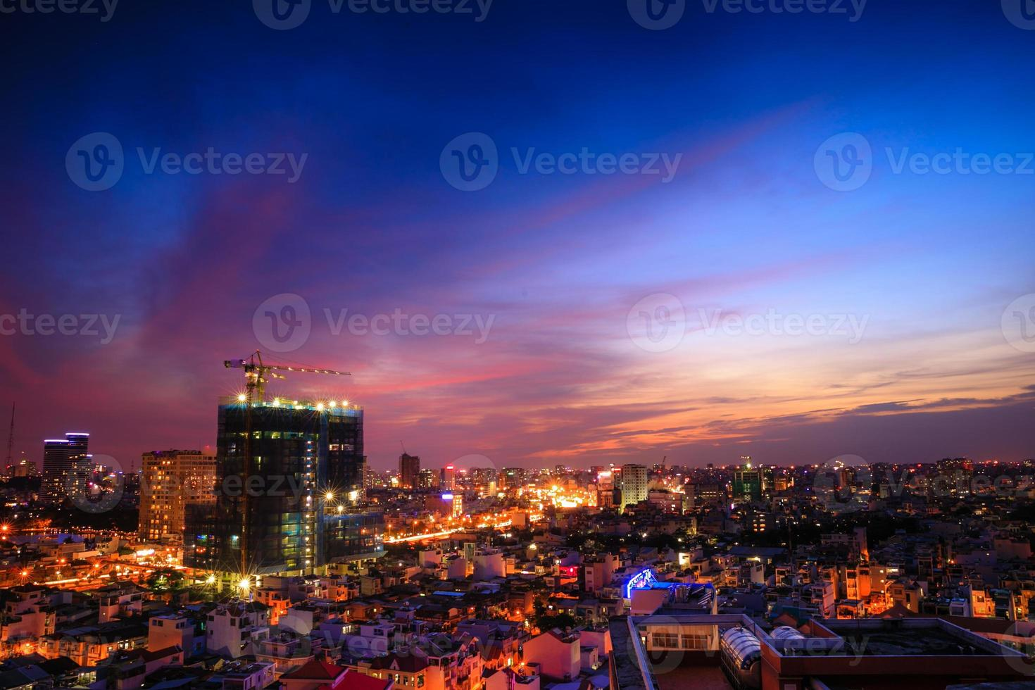 Blick auf die Stadt Saigon vom Dach foto