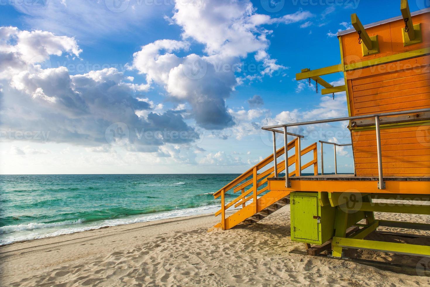 Rettungsschwimmerstation, Miami Beach, Florida, Amerika, USA - Lager im foto