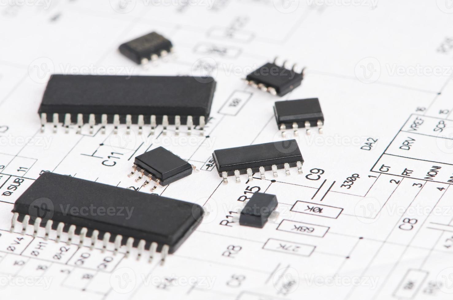 Mikroelektronikelement und Layout foto
