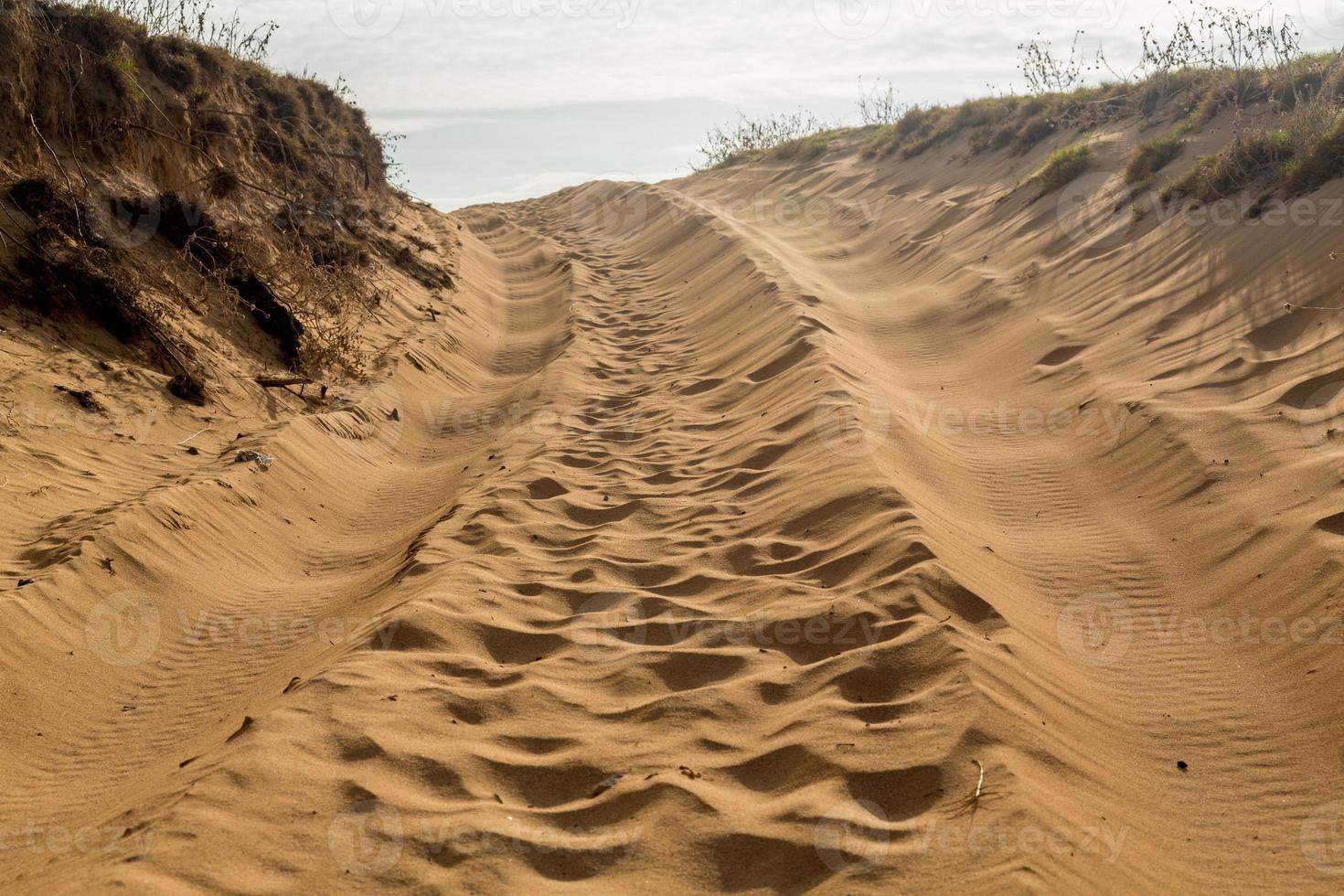 Reifenspuren in Sanddünen über Hügel foto