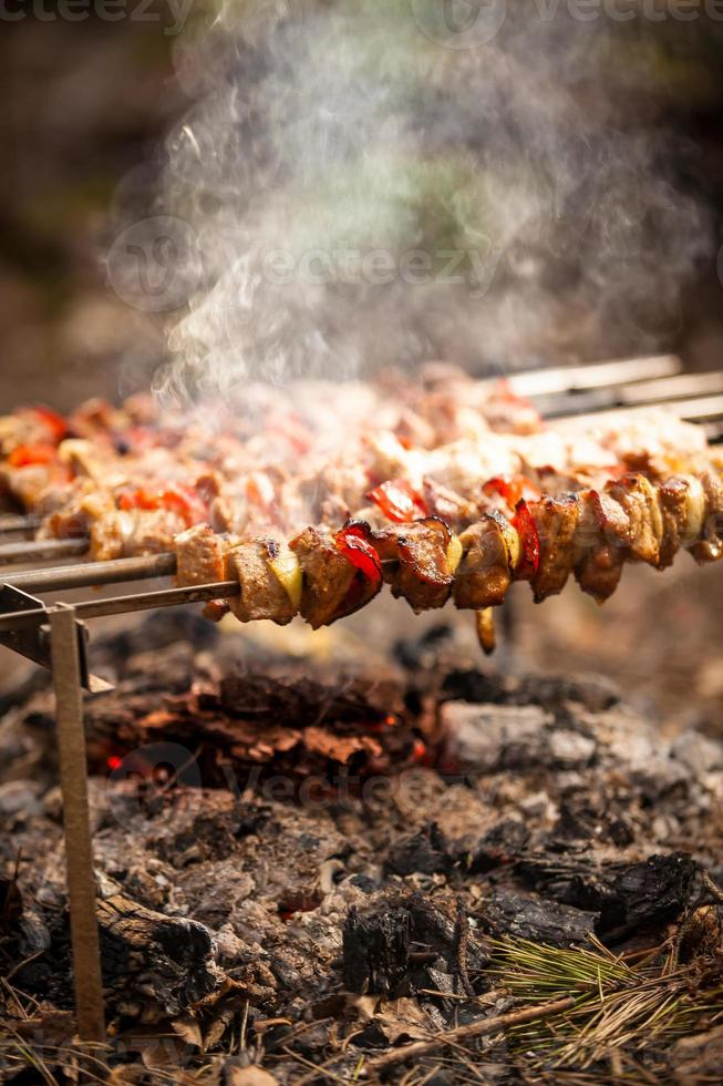 Fleisch Kebab in Flammen gekocht foto