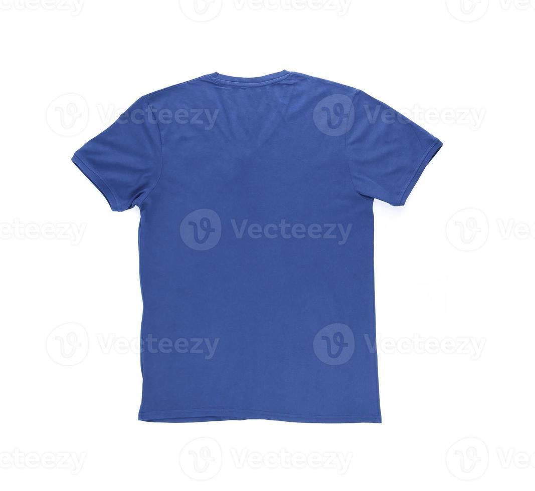 blaues T-Shirt der Männer mit Beschneidungspfad. zurück. foto