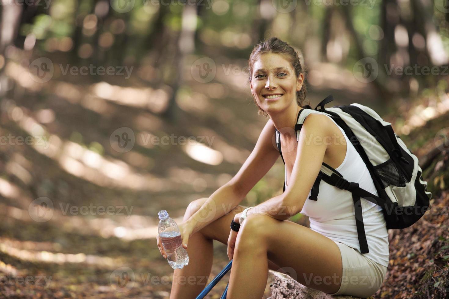 weibliche Nordic Walker foto