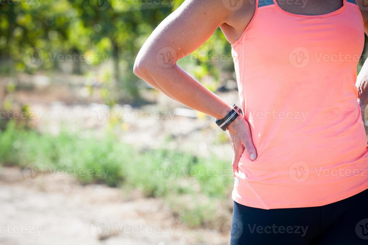Nahaufnahmebild einer weiblichen Athleten foto